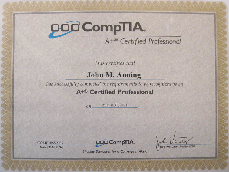 John Anning - CompTIA A+ Certified